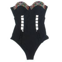 Volcom Womens Embroidered Cut-Out One-Piece Swimsuit
