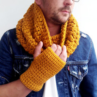 MUSTARD SCARF MENS Hand Crochet Scarf Soft Infinity Mens Braided Cable Boho Cowl Loop Crochet Slouchy Mens Scarf Slouch Beanie Winte 831
