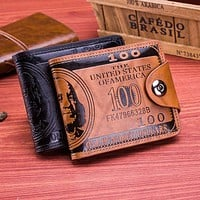 Men Vintage Wallet PU Leather Dollar Pattern Designer Men's Wallets Casual Credit Card Holder Purse Wallet For Male Money Bag