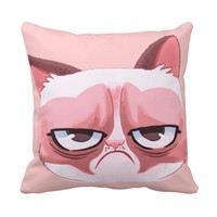 Funny Angry Cat Polyester Throw Pillow