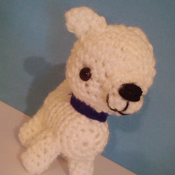 Crochet White Pit Bull Puppy Plush Toy Amigurumi