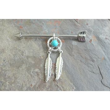 Arrow Dream Catcher Industrial Barbell Piercing Upper Double Ear Piercing Double Feathers