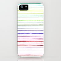 HANDPAINTED WATERCOLOUR RAINBOW STRIPES iPhone Case by M✿nika  Strigel for iPhone 5 + 4 S + 4 + 3 GS + 3 G + skins + pillow  | Society6