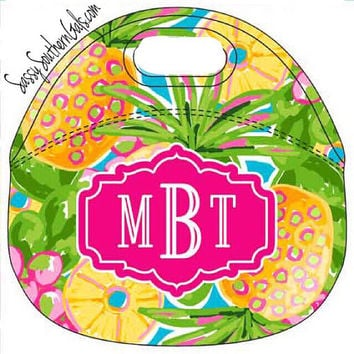 Monogrammed Lilly Pulitzer Inspired Lunchbox, Monogrammed Lunch Bag Insulated Neoprene, Monogrammed Lunch Tote Lilly Pulitzer Inspired