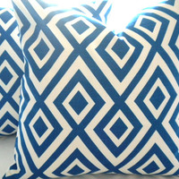 Pillow cover, Royal Blue Geometric Decorative 16 x 16 throw Pillow cover, accent pillow