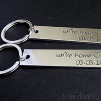 We're Home Hand Stamped Aluminum Keychain with Hearts and Custom Dates, Fully Personalized House Warming Gift for Couples