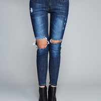Machine™ Ripped Knee Skinny Jeans | Wet Seal