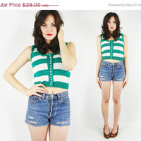 On Sale - 20% Off - vtg 80s 90s preppy green white wide STRIPED print BUTTON up CROPPED crop sleeveless knit sweater tank top S