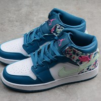 HCXX 19Aug 380 Air Jordan 1 Mid GS 555112-300 Skateboard Shoes Breathable Casual Sneakers