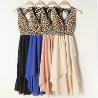 Lace Leopard Backless Chiffon Dress