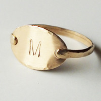 Personalized Gold Ring - Initial Gold Filled Ring - Gold Oval Ring - ID Ring