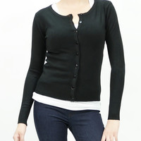 Solid long sleeve button down knit light cardigan