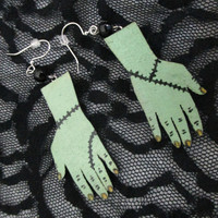 Hand Painted Spooky Monster Hand Earrings / Zombie Hands / Frankenstein / Undead Body Parts Jewelry