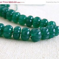 51% OFF Green Onyx Gemstone Round Carved Melon Ball Emerald Green 8.5 to 10.5mm Full Strand 60 beads