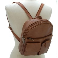 Women's Leather Backpack Purse with Organizer Pockets and Sling Shoulder Bag Feature