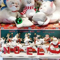Relco NOEL Santa and Reindeer Candle Holder 1950s 50s Mid Century Midcentury Vintage Christmas Relco Creations Japan with Original Box