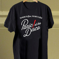 panic at the disco to live red personalisized tshirt women and men unisex adults
