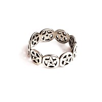 PSC pentagram sterling silver vintage ring band 925 size 8 Wiccan Pagan