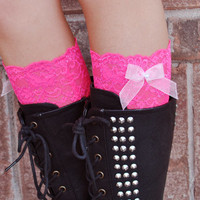 Lace Boot Cuffs - Faux Lace Boot Socks - Faux Lace Leg Warmers - Lace Boot Topper - Boot Topper - Faux Knee High Sock - Womens - Hot Pink