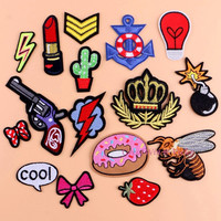 Sewing Clothes Gun Patch Iron On Embroidery Patches Hotfix Applique Motifs Sew On Garment Stickers Crown Bee Donut Bomb Cool New