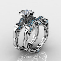 Art Masters Caravaggio 10K White Gold 1.0 Ct White Sapphire Aquamarine Engagement Ring Wedding Band Set R623S-10KWGAQWS