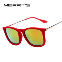 MERRY'S Women Brand Designer Velvet Sunglasses Classic Sun Glasses Alloy Leg UV400 High quality