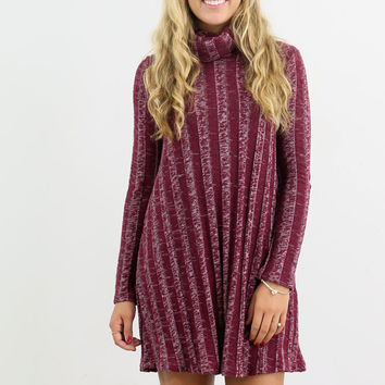 Laid Back Turtle Neck Burgundy Sweater Dress