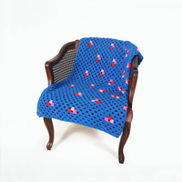 Retro Afghan Crochet Blanket Quilt - Blue Pink Red Floral Granny Square Full Large Mid Century Modern