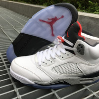 "Air Jordan 5 ""White Cement"" Retro Mens Sport Basketball Shoes"