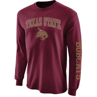 Texas State Bobcats New Agenda Distressed Arch & Logo Long Sleeve T-Shirt - Maroon
