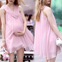 Maternity Plus Size Dresses For Pregnant  with Fashion Elegant Loose Chiffon Sleeveless