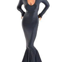 Deep V Neck Morticia Gown with Puddle Train