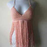 Peach Boho festival fringe top,  Hippie fringe top, Festival fringe top, Fringe bikini cover, carnival top  gypsy clothing, Bohemian top