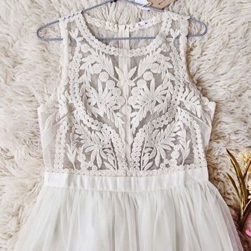Laced in Sky Dress in Ivory