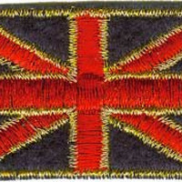 British Flag Iron-On Patch Gold Trim Union Jack