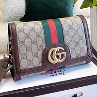 GUCCI Fashion new more letter leather shoulder bag crossbody bag Khaki