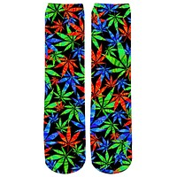 Colorful 3D Weed Crew Socks