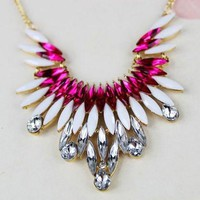 Red and White Rhinestone Pendant Necklace