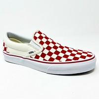 Vans Classic Slip On (Primary Check) Racing Red White Mens Casual Shoes