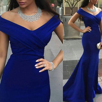 Off Shoulder Mermaid Royal Blue Prom Dresses V Neckling pst0081