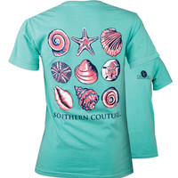 SALE Southern Couture Preppy Nine Sea Shells Comfort Colors T-Shirt