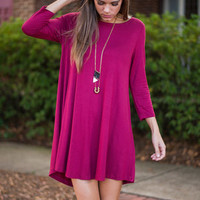 Everyday Casual Dress, Burgundy