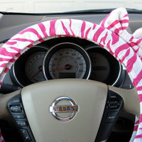 Hot Pink Zebra Steering Wheel Cover with Matching Bow