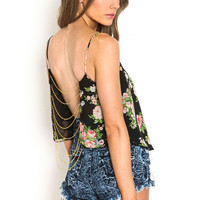 GOLD CHAIN FLORAL TOP