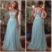 A-Line Prom Dress,Light Blue Prom Dresses,Long Evening Dresses