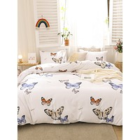 Butterfly Print Bedding Set Without Filler