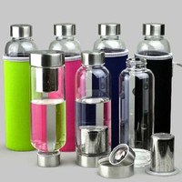 2015 new sport outdoor Portable Real Borosilicate Glass Water Tea Bottle 420ml Travel Mug Carafe Nylon Sleeve with Tea Infuser