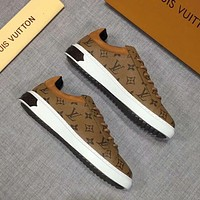 LV 2019 new men's casual fashion low cut lace-up shoes brown
