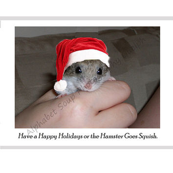 Catty Cards Christmas Cards. Hamster in a Santa Hat to Say Have a Happy Holidays. Mouse in a Hat Blank Greeting Card. Holiday Card