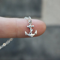 Anchor Necklace - Sterling Silver . Tiny Anchor Charm . Pendant . Womens Jewelry . Silver Anchor Necklace